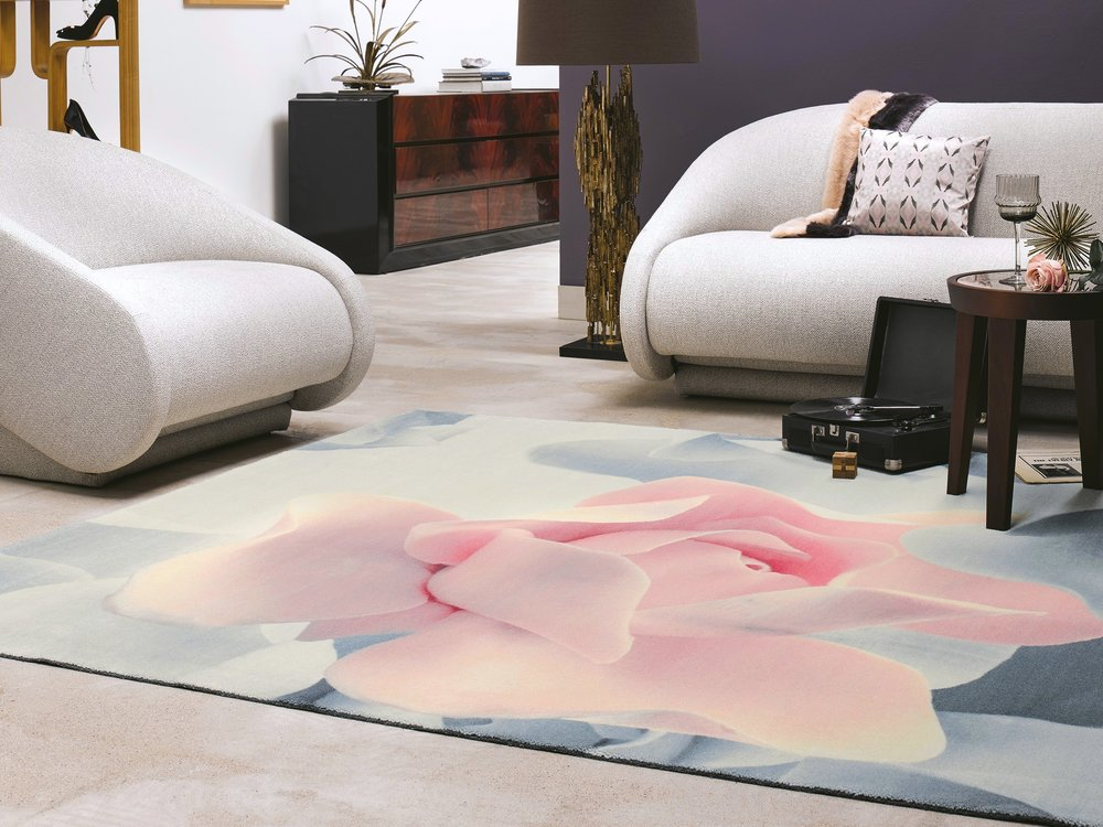 Porcelain Rose Rug, available in two sizes, priced from £994.