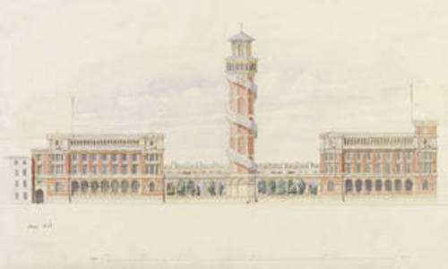 Design for a tower and museum extension on Exhibition Road after Henry Cole, 1868. Museum no. E.2034-1921. © Victoria and Albert Museum, London