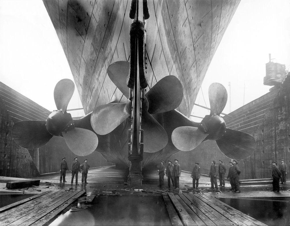 Titanic in dry dock, c. 1911 © Getty Images