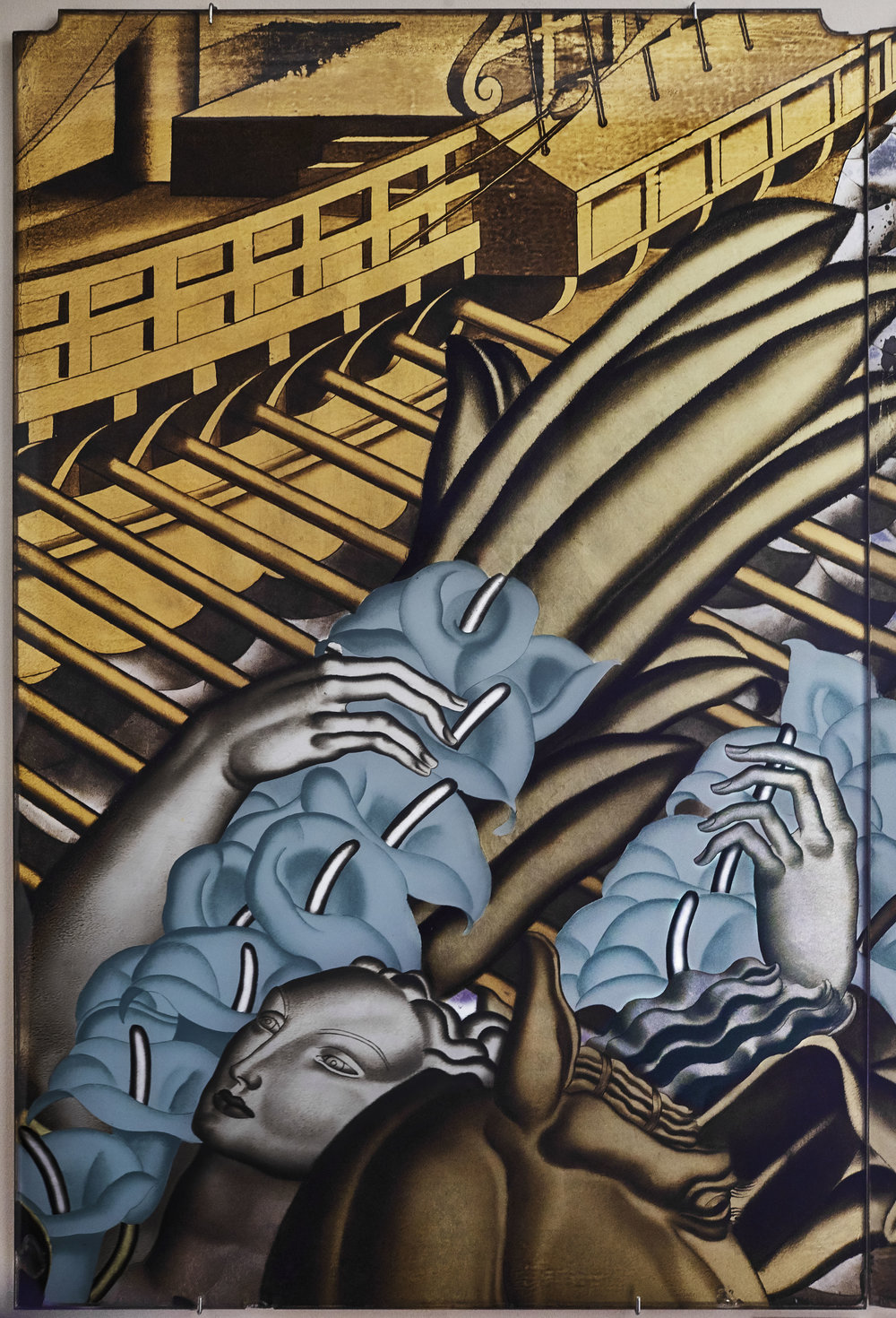 Panel from The Rape of Europa for the first-class grand salon on-board Normandie, Jean Dupas, France, 1934 © Miottel Museum. Photograph courtesy of Peabody Essex Museum, Salem, Massachusetts