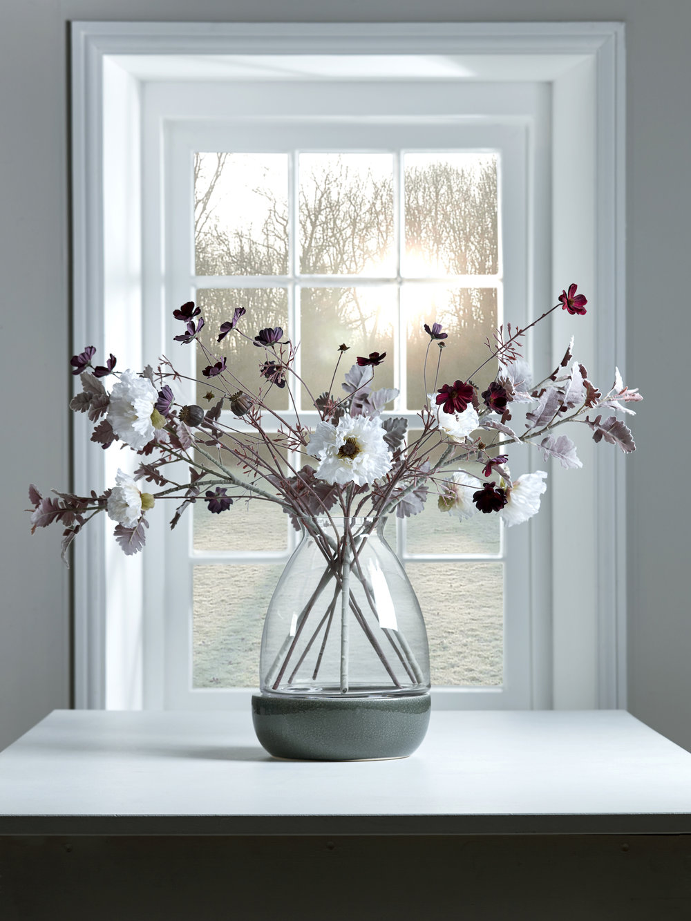 www.coxandcox.co.uk Faux Floral HERO Three Flocked Faux Leaf Sprays - Blush H-3LEAF £35 Three Faux Poppy Sprays - White H-3POPWHT £25 Three Faux Cosmos - Burgundy H-3COSMOS £25 Mila Vase H-MILAVASE £60.jpg