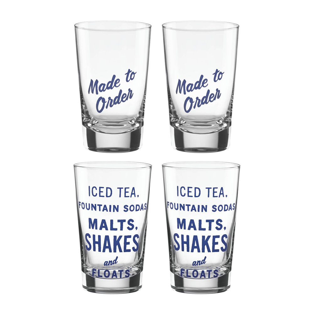 Kate Spade New York Order's Up Glass Tumblers - Set of 4