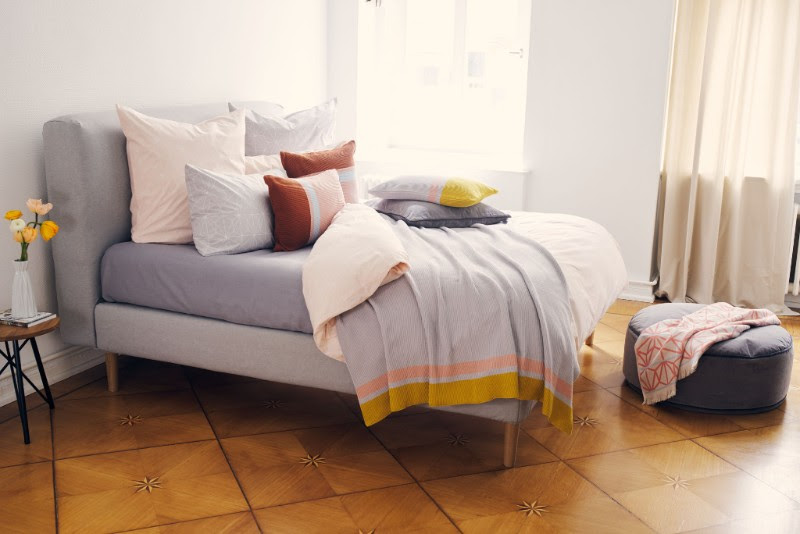 Seven new collections: Albufeira Bed Linen Set, from £59; Suri Cushion, £25, Deomali Pouf, £89, Arade Towel, £29, Alvoco Wool Rug, £99, Zezere Cotton Blanket, £79, Zesere Cushion, £35.