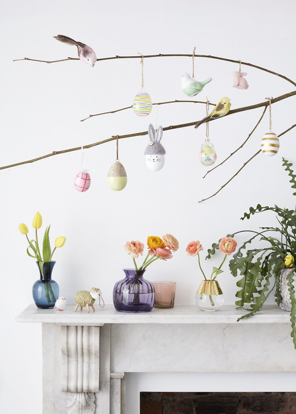 Mango Wood Hanging Eggs, £18, Glitter Hanging Rabbit Pack of 2, £4, Coloured Foam Bird Assortment, £5. All John Lewis.