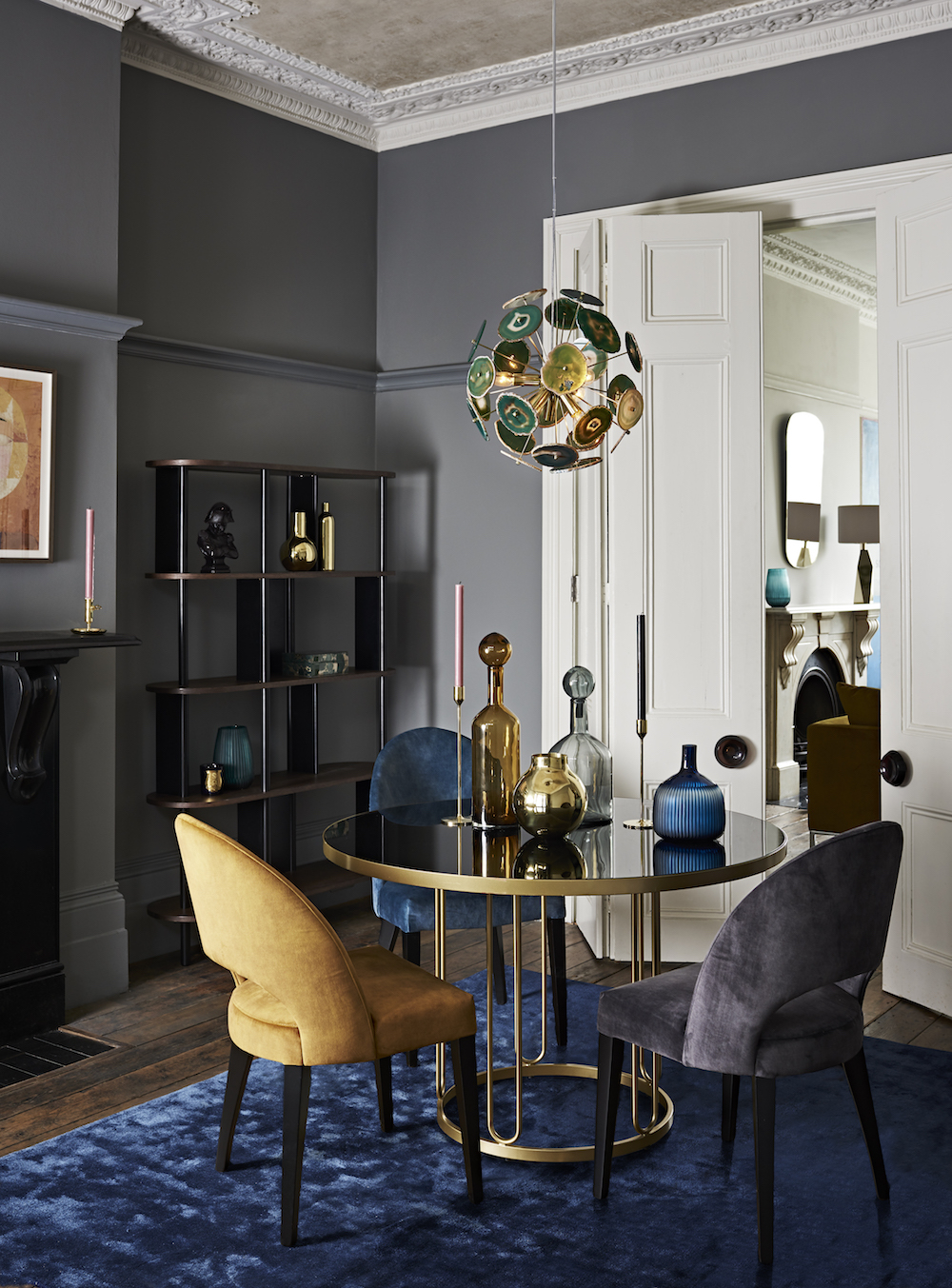 John Lewis Farrugia Dining Table, £699, Moritz Dining Chairs, £299 each, Yoko Shelving Unit, £699, Delilah Agate Ceiling Pendant, £450