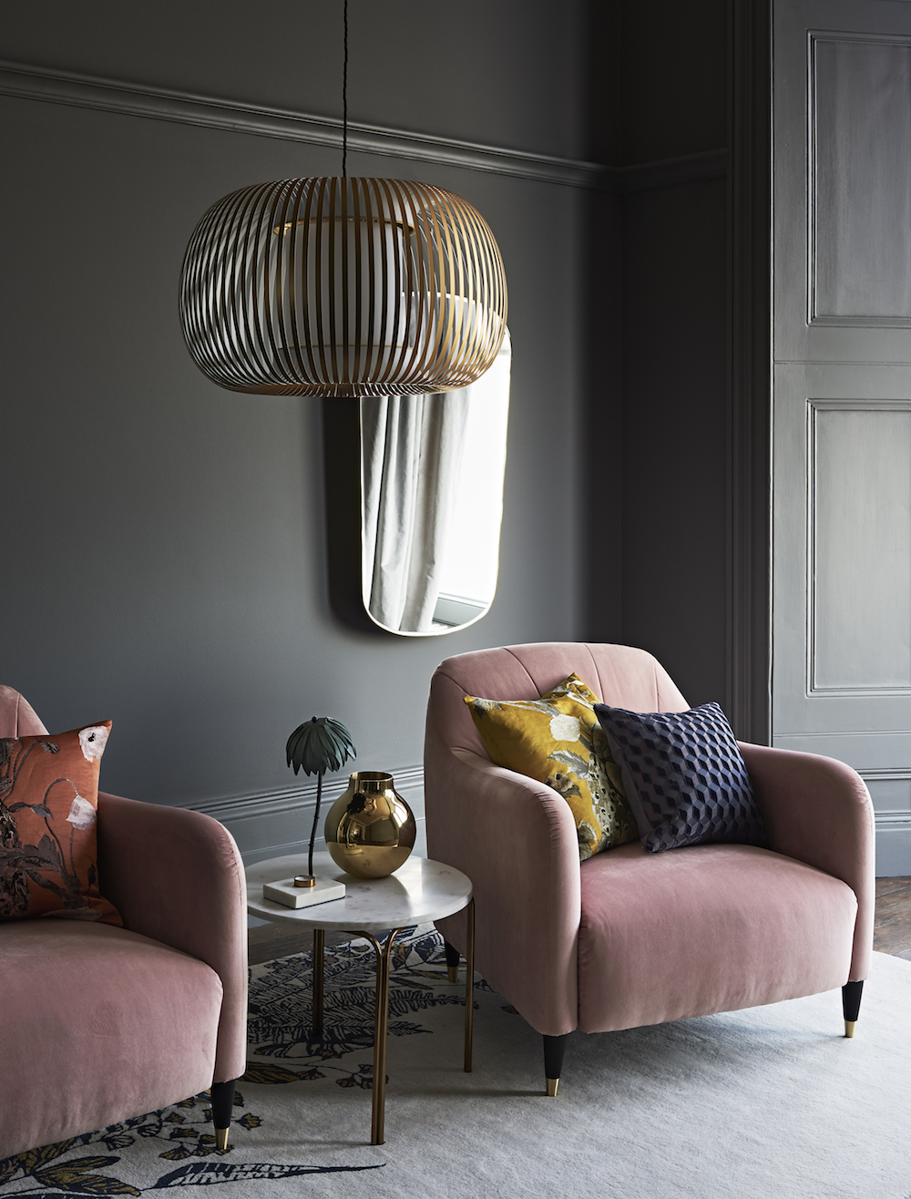 John Lewis Meghan Armchair, £749, Harmony Large Pendant, £150, Marble Side Table, £150, Hays Tapered Gold Fin Mirror, £150