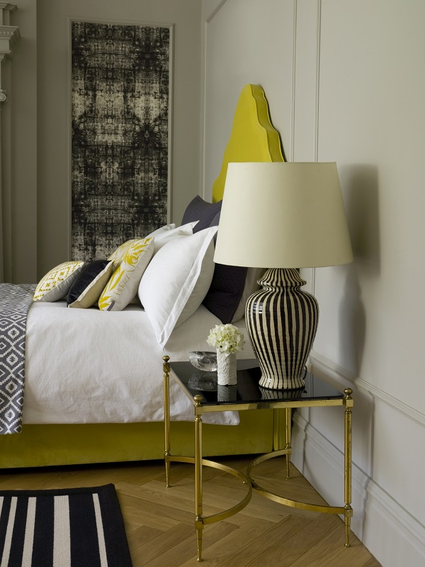Lottie Table Lamp in Slate, £130, 45cm Straight Empire Shade in Cream Silk. £75