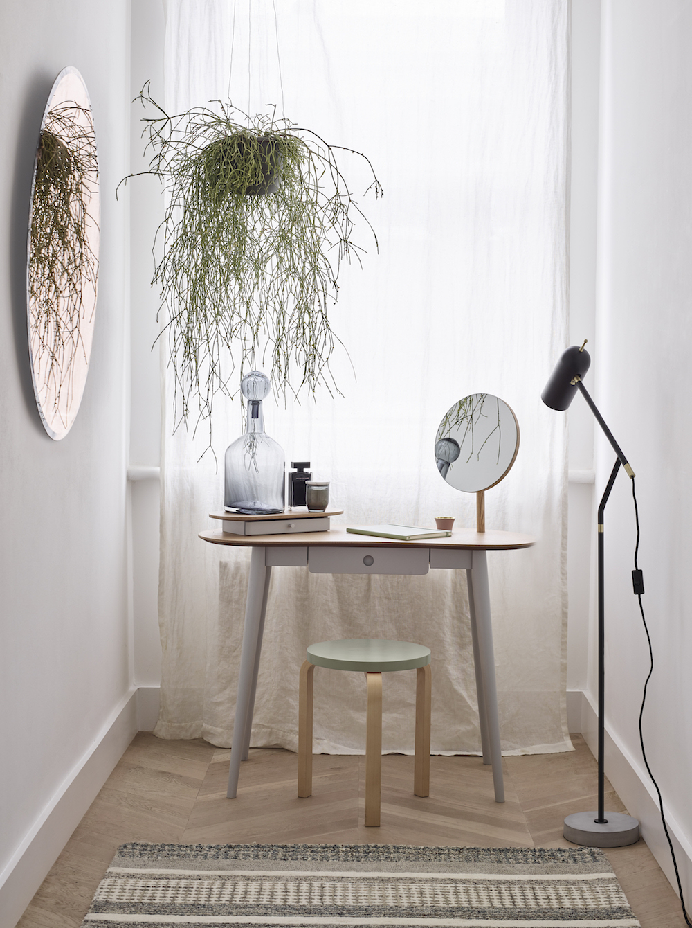 Greyson Dressing Table £350, Artek Stool 60 Birch & White £180.40
