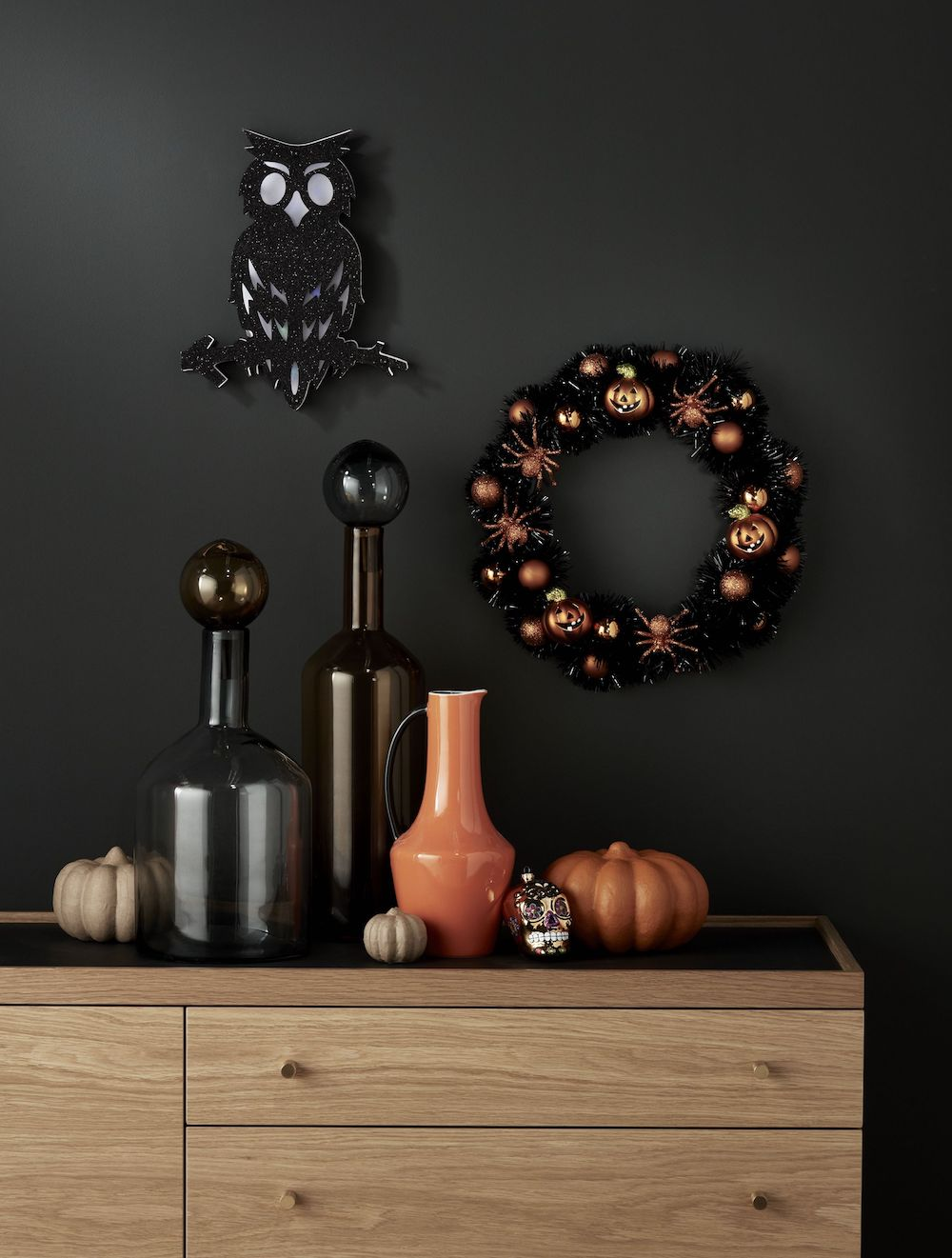 John Lewis & Partners Owl LED Plaque £12, Halloween Pumpkin & Spider Tinsel Wreath £18.jpg