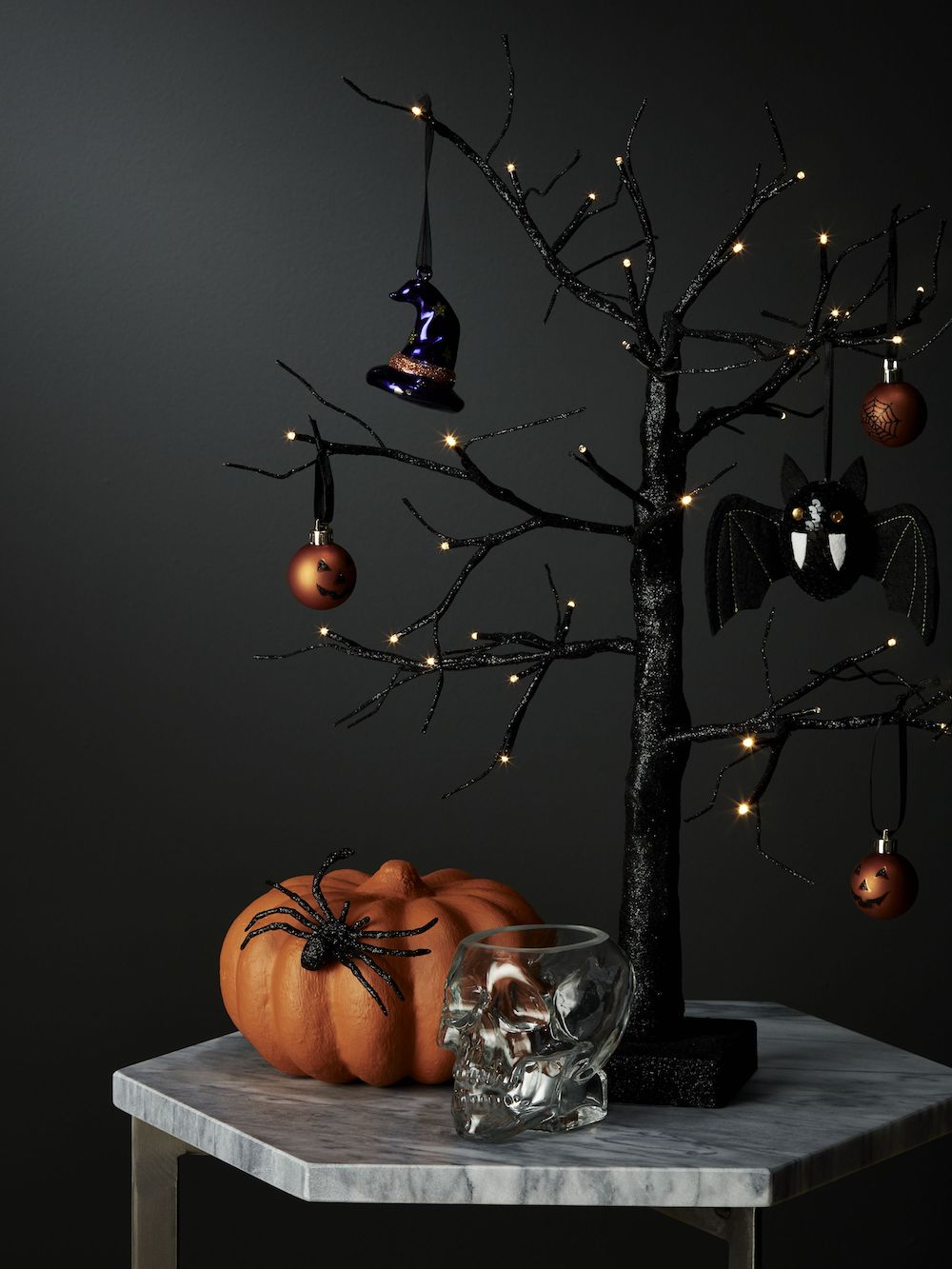 John Lewis & Partners Pre Lit Black Tree 60CM Battery Operated £22, Glass Skull Tealight Holder £5.jpg