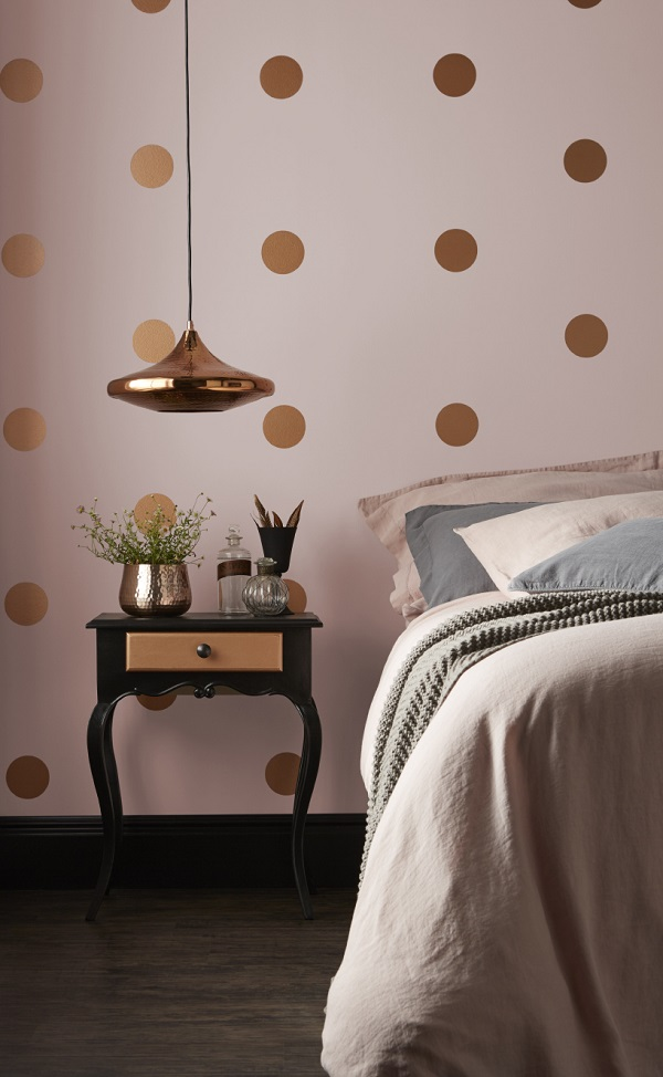 On the walls - Pashmina, Matt Emulsion. For the dots - Copper, Metallic Emulsion. On the woodwork - Jet Black, Non Drip Gloss.
