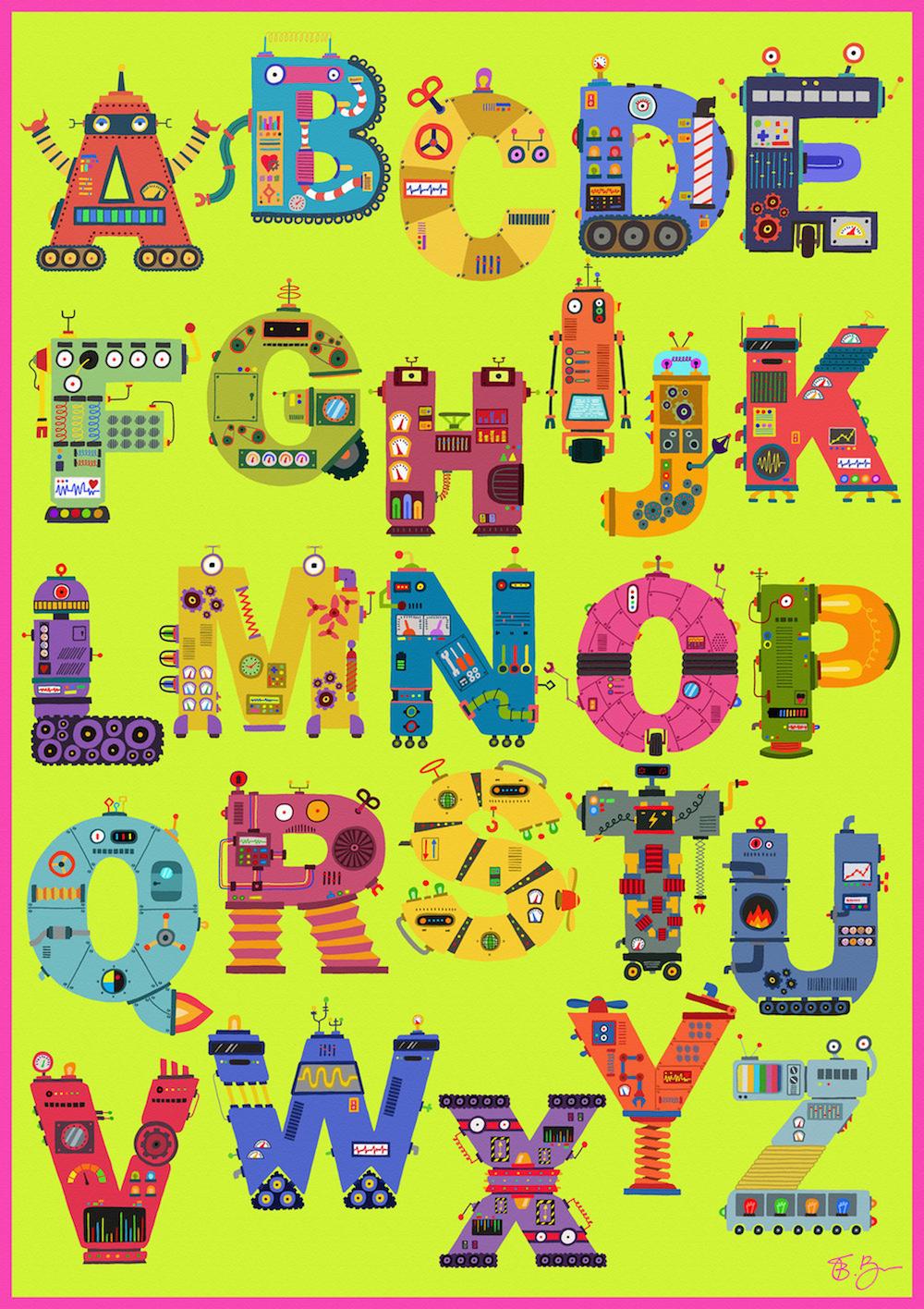 Robot Alphabet A2 Print Framed - £90 / A1 Print Framed - £120