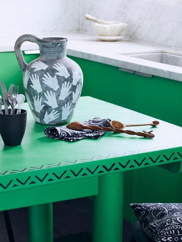 Annie Sloan  Kitchen  Chalk Paint in Antibes Green with Valeska stencil Hands stencil on jug fabric in Tacit  Lifestyle  Portrait.jpg