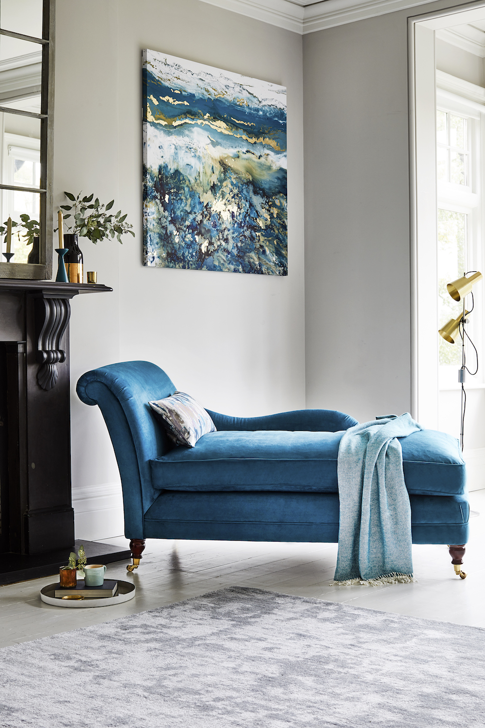 Willow & Hall The Hunstrete Chaise Longue in Matt Velvet Mallard from £897