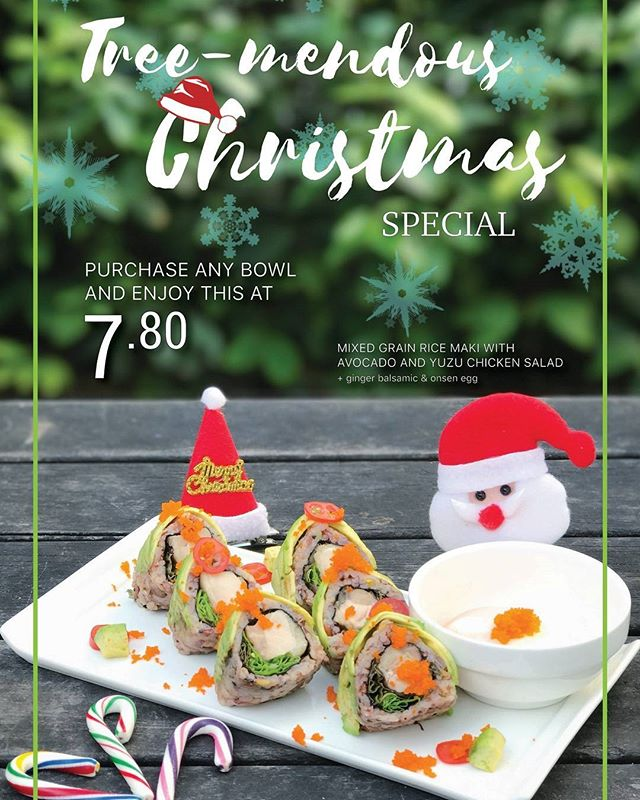 Let the festivities begin! Our Christmas maki is available until the end of the year. A healthy roll of mixed grain sushi rice, avocado, and yuzu chicken salad! #shinkanseneats