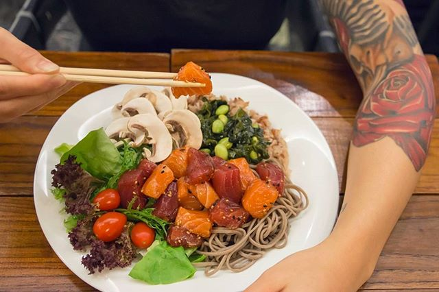 Let's go with the Poké. Introducing our new Mahalo Poké signature bowl. A base of soba noodles and mixed grain rice topped with cubed tuna and salmon poké, mushroom, edamame and seaweed, spring onions and a ginger balsamic sauce. #shinkanseneats