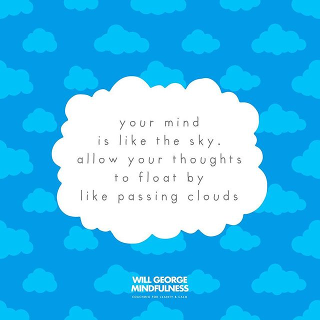 My course participants love this analogy. When we realise we can allow thoughts to pass through the mind, without getting 'hooked' into every story, memory or worry, we are free from the strong pull of unhelpful thinking. ☁️ ⛅️ ⛈ ☀️ #mindfulness #coaching #wellbeing #meditation #mindfulworkplace #mindfulnessatwork #wellbeingisaskill