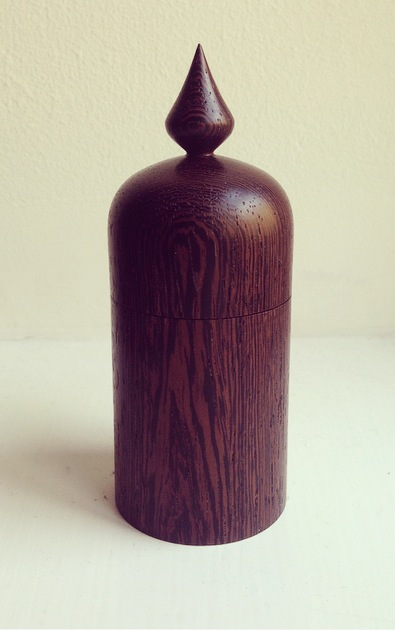 Box with finial, West African Wenge