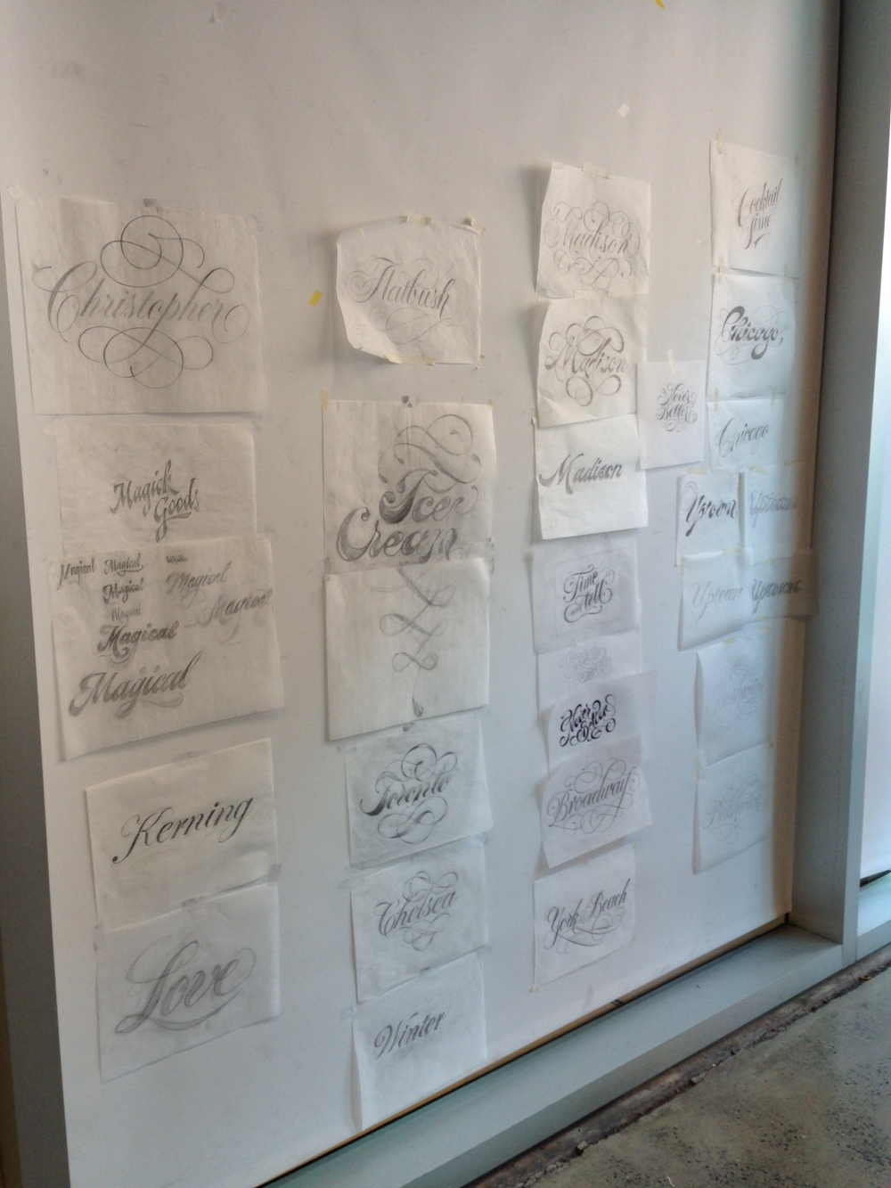 Just a small selection of the student's sketches posted on our final day.