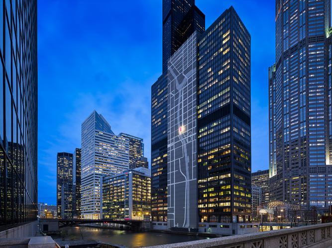 LED Map Projection at 300 South Wacker Dr, Chicago Image courtesy of Fast Company