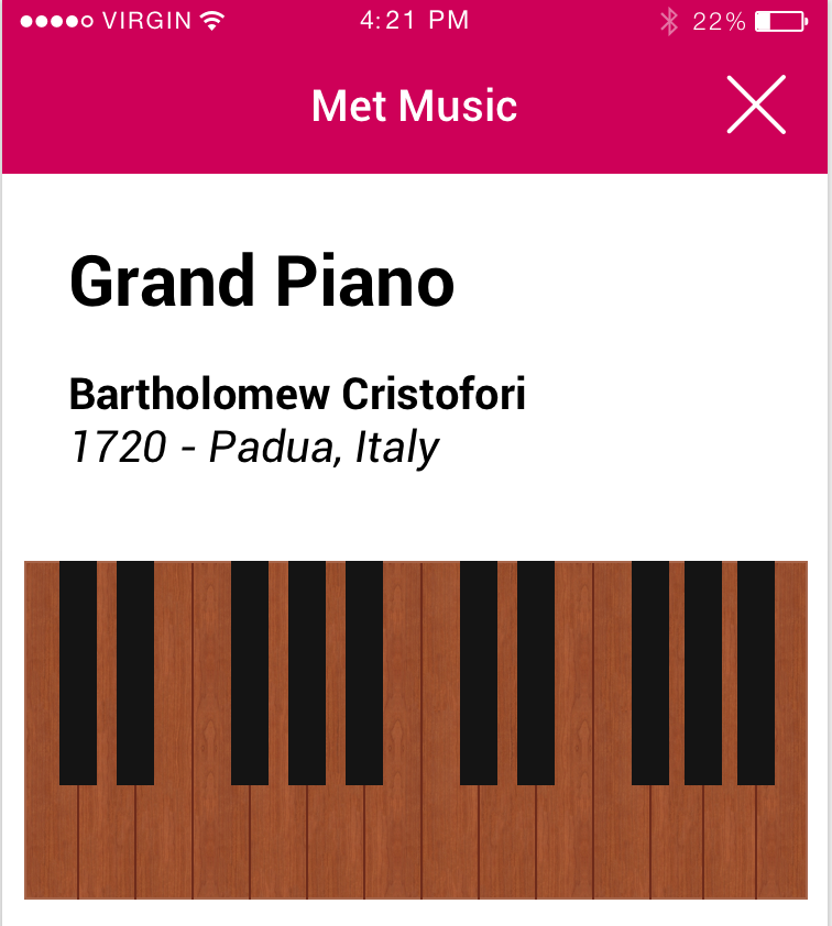"MetMusic - a mobile application where visitors to the Metropolitan Museum of Art can ""play"" instruments from the museum's collection User Experience"
