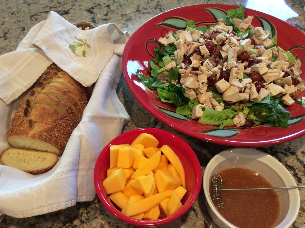 The salad with mango and sesame bread from Panera Bread.