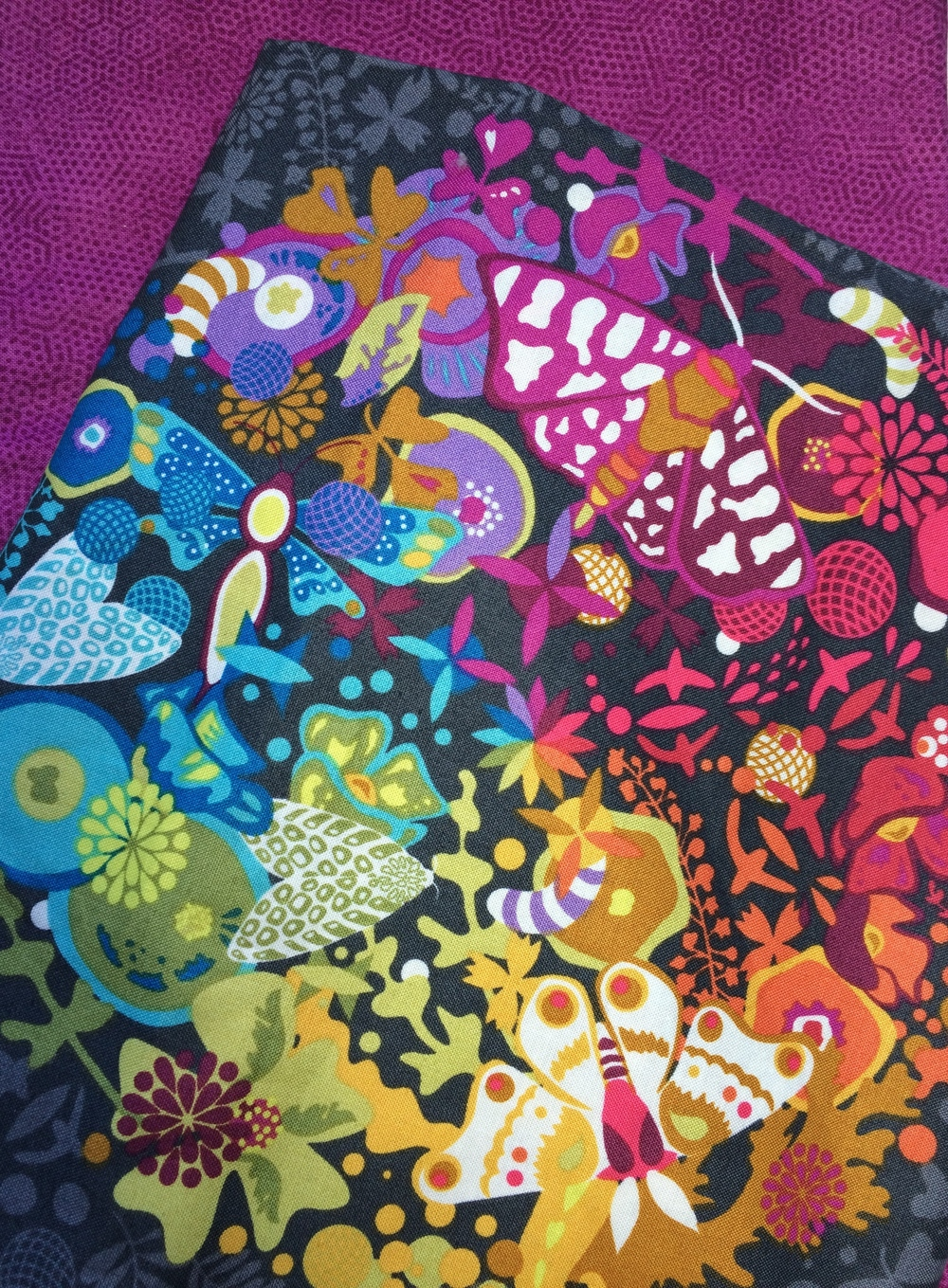 This beautiful and colorful Alison Glass fabric looks fabulous with so many different fabrics.