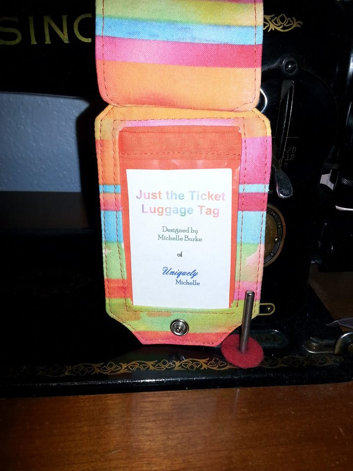 Paula was so sweet to make this custom card to go in the vinyl pocket of her Just the Ticket Luggage Tag.  It is a perfect match with the fabric she used!