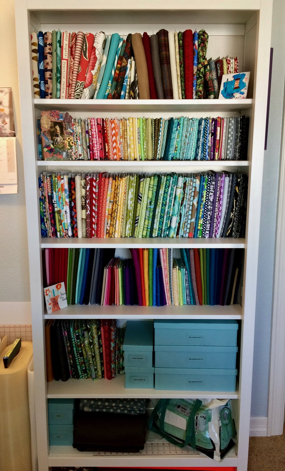 an organized sewing space fabric uniquely michelle