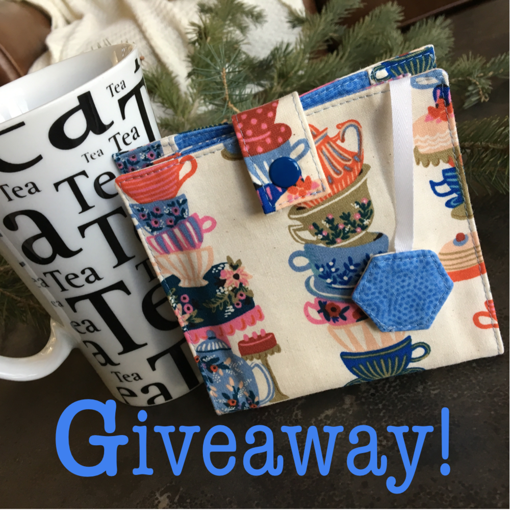 Make sure to comment on the posts that look like this if you want to be entered in the giveaway to win a Tea Time Tea Wallet pattern!