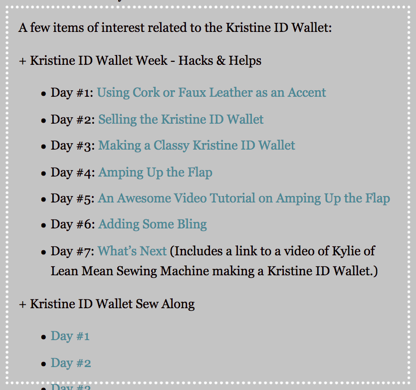 Some of the links that are part of the listing for the Kristine ID Wallet in the Uniquely Michelle website shop.