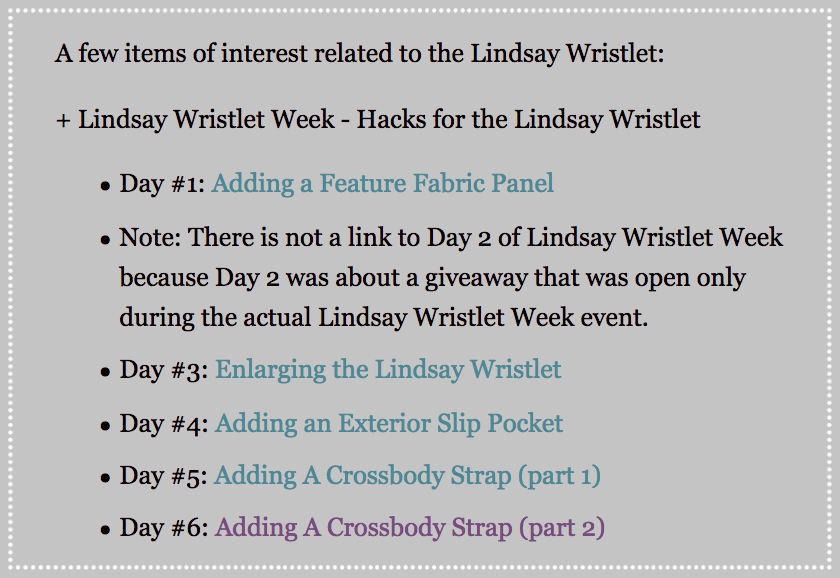 The links that are part of the listing for the Lindsay Wristlet on the Uniquely Michelle website shop.