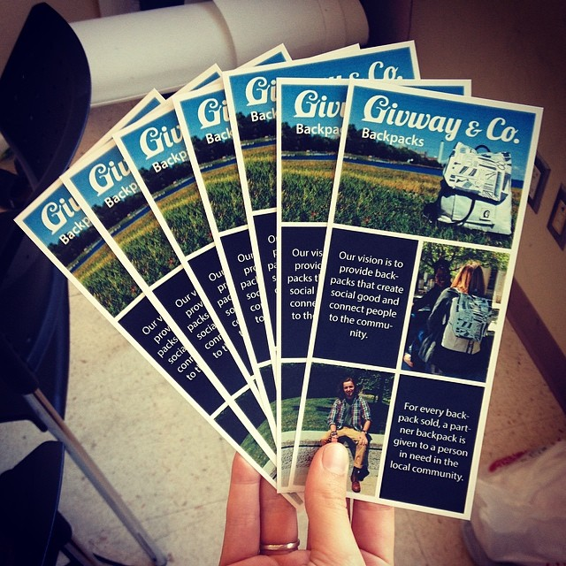 New pamphlets at #givwayandco so we can spread our story to everybody! 🐌