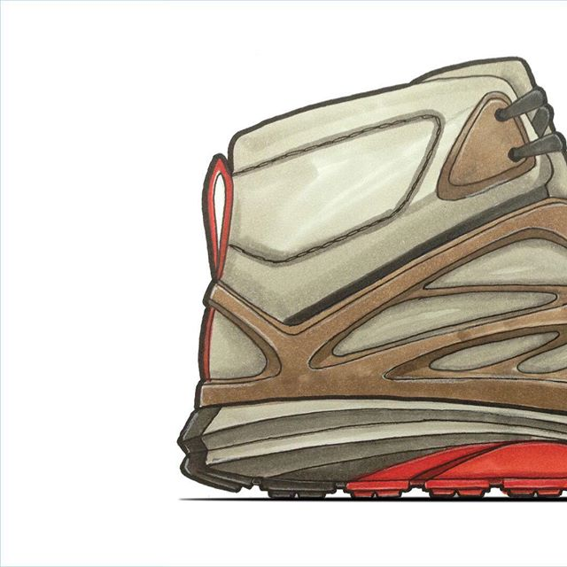 Throwback to a hiker sketch that wasn't picked for the direction of a hiker. I was told it looked too much like a Nike. 🤔 still not sure I see that myself.  #outdoor #hiker  #sketch #sketching #sketchbook #marker #copicmarkers #markerrendering  #footwear #footweardesign #footweardesigner #design #industrialdesign #productdesign #illustration #inspiration #inspirado #lacelessdesign #throwbackthursday #nike