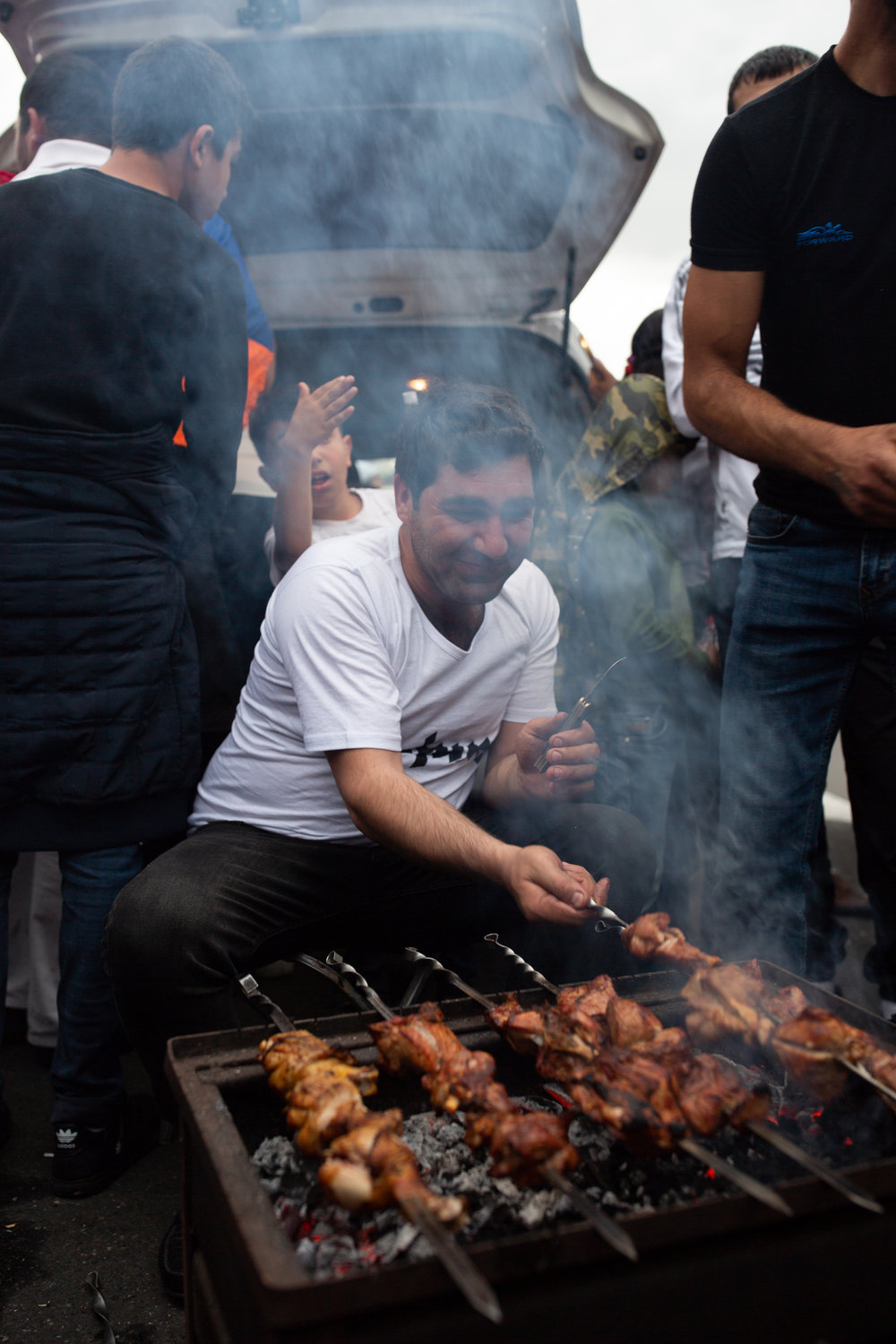 Cooking Khorovats in Republic Square