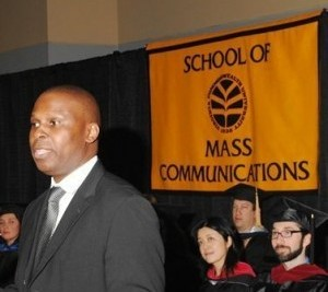 Moses gives the commencement address to VCU School of Mass Communications graduates.