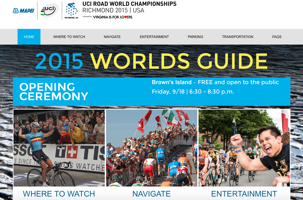 Navigate.Richmond2015.com home page screen shot