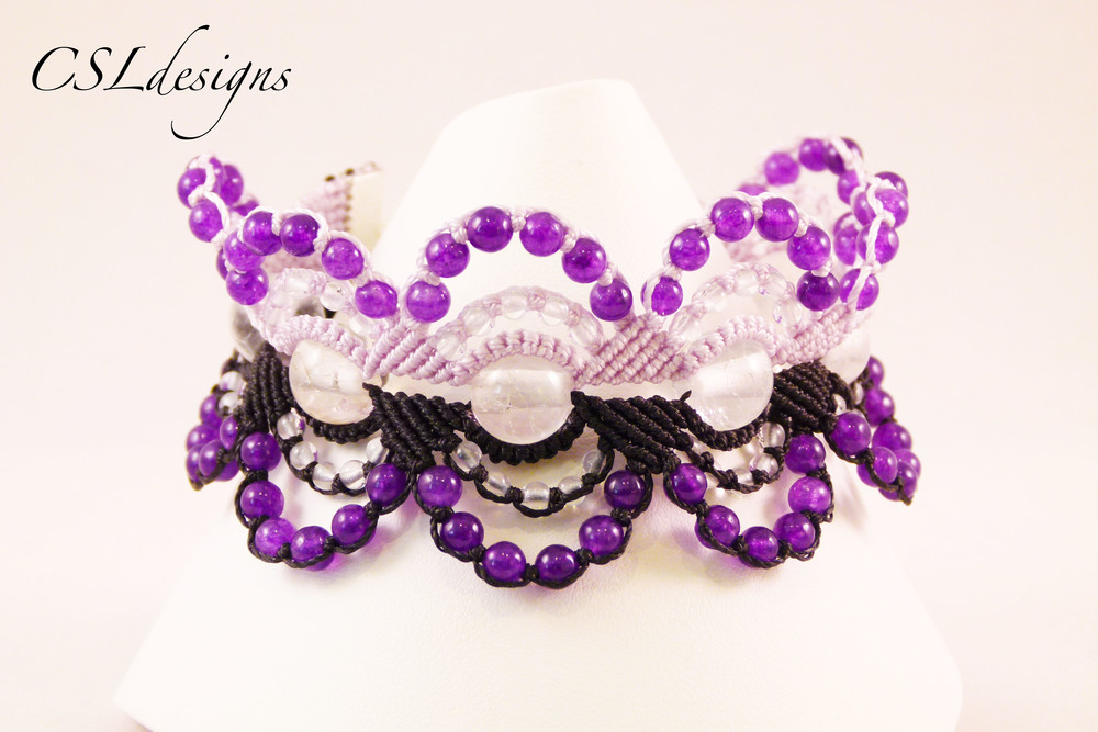 Micro macrame circles bracelet purple front close.jpg