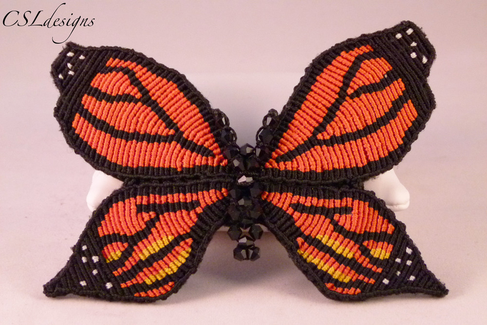 Micro macrame monarch butterfly hair clip close.jpg