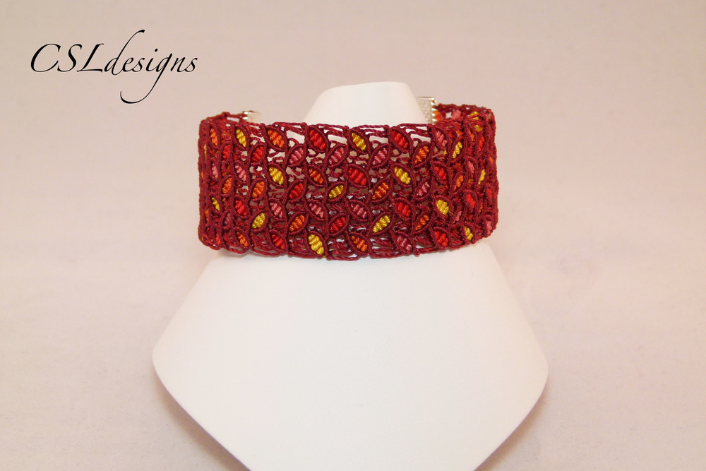 Coloured leaves micro macrame bracelet.jpg