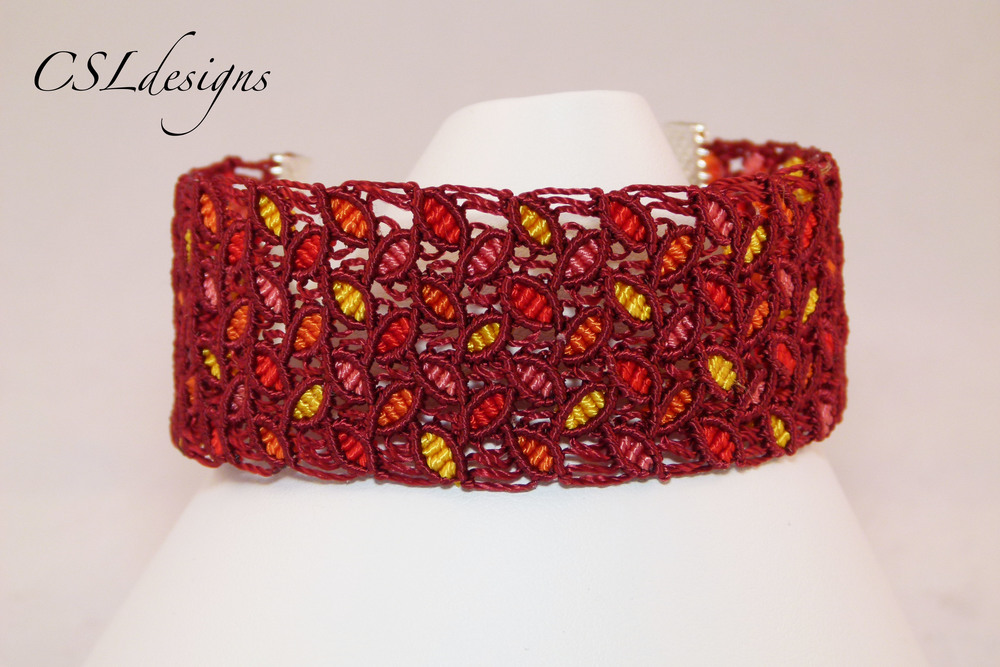 Micro macrame coloured leaves bracelet front close.jpg