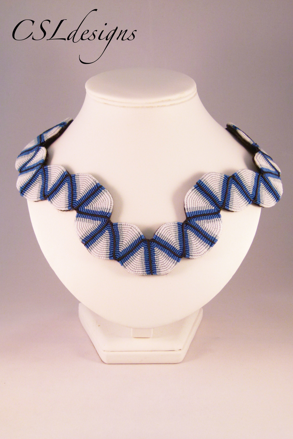 Blue micro macrame collar necklace front full.jpg