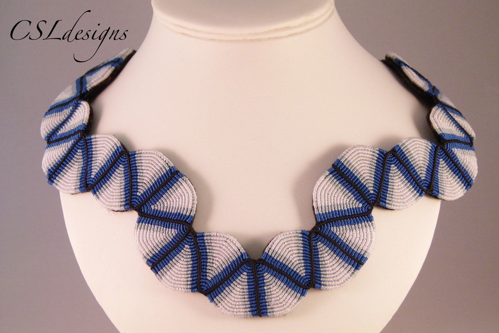 Blue micro macrame collar necklace close.jpg