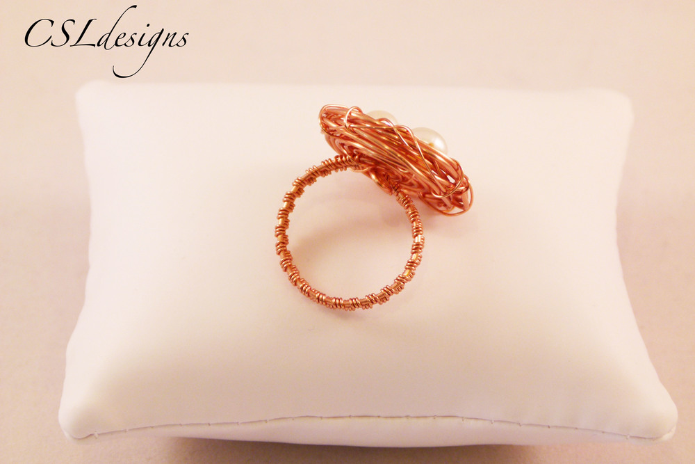 Wirework birds nest copper and pearl ring back.jpg