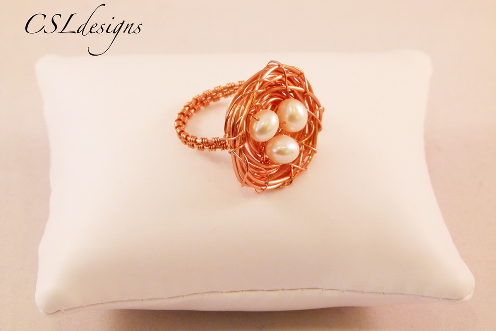 Wirework birds nest copper and pearl ring front.jpg
