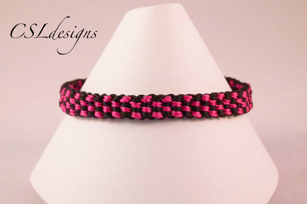 Small checker board kumihimo braid front close.jpg