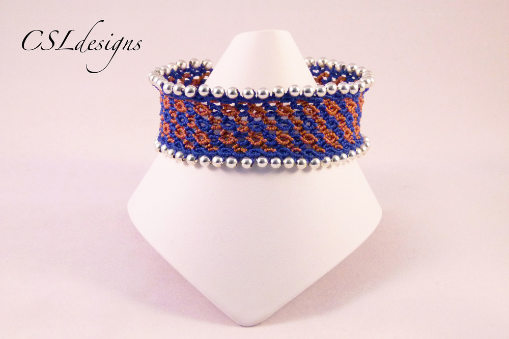Micro macrame waves bracelet brown blue front full.jpg