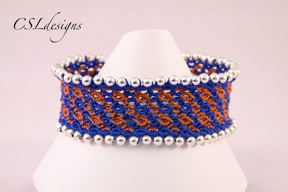 Micro macrame waves bracelet brown blue front close.jpg