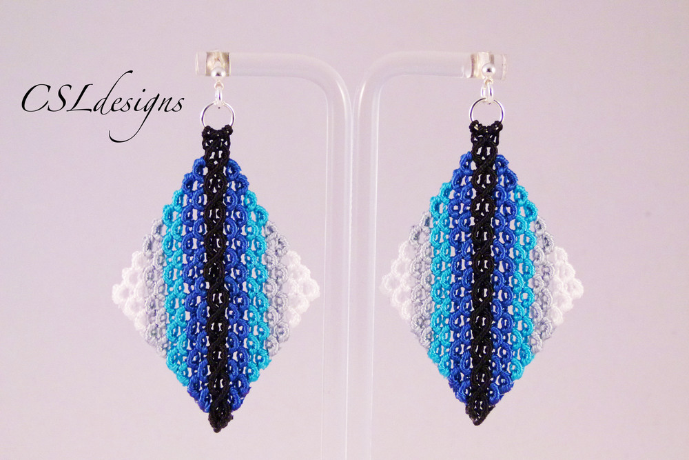 Micro macrame wavy diamond earrings graduated blue.jpg