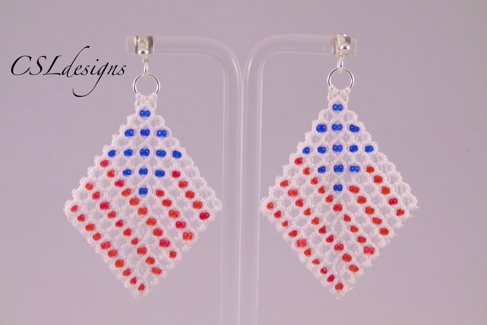 Micro macrame wavy diamond earrings usa flag.jpg